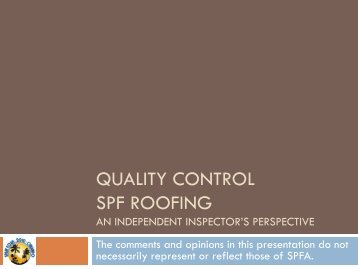 quality control spf roofing - Spray Polyurethane Foam Alliance