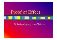 Substantiating the Claims - Creative Developments