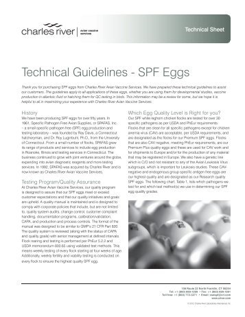 Technical Guidelines – SPF Eggs | Charles River Avian Vaccine ...