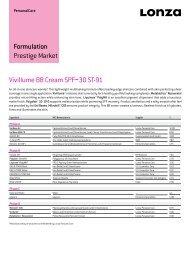Formulation Prestige Market Vivillume BB Cream SPF ... - COSSMA