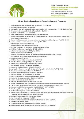 Africa Region Participant's Organizations and Countries - Global ...