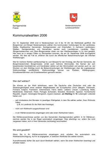 Allgemeine Wahlinformationen - Samtgemeinde Freren