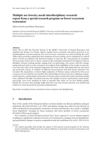 report from a special research program on forest ecosystem ... - WSL