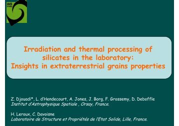 Irradiation and thermal processing of silicates in the laboratory ... - ISA