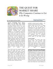 THE QUEST FOR MARKET SHARE - Monitor Group