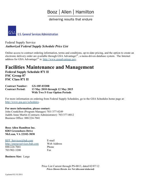 Facilities Maintenance and Management - Booz Allen Hamilton