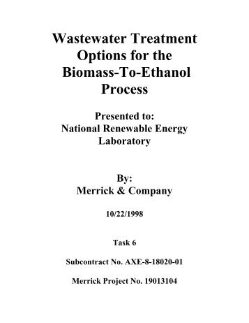 Wastewater Treatment Options for the Biomass-To ... - P2 InfoHouse