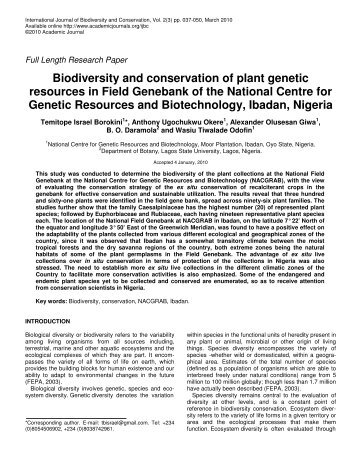 Biodiversity and conservation of plant genetic resources in Field ...