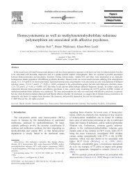 Homocysteinemia as well as methylenetetrahydrofolate reductase ...