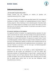 Erfahrungsbericht Ausbildung zur Kauffrau fuer ... - Kühne + Nagel