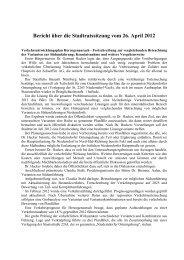 Bericht über die Stadtratssitzung vom 26. April 2012