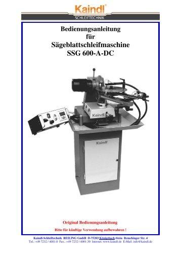 Sägeblattschleifmaschine SSG 600-A-DC - Kaindl Schleiftechnik ...