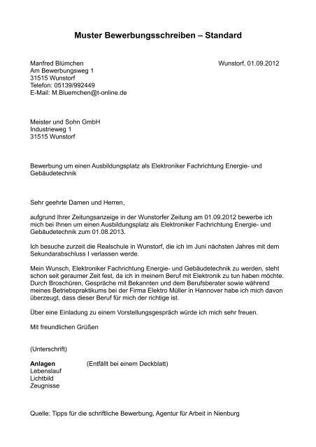 Muster Bewerbungsschreiben Standard Obs Kirchdorf