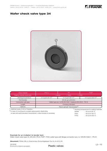 Wafer check valve type 34 - Frank GmbH