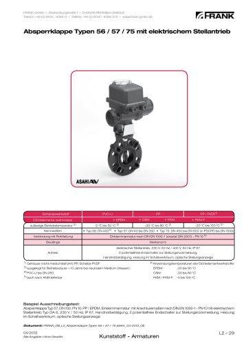 Absperrklappe Typen 56 / 57 / 75 mit elektrischem ... - Frank GmbH