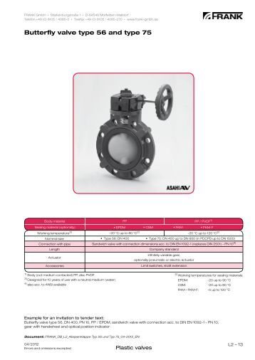 Butterfly valve type 56 and type 75 - Frank GmbH