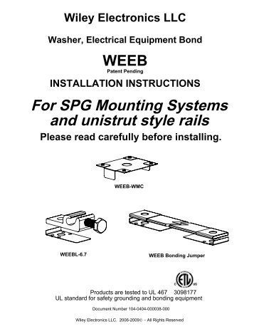 For SPG Mounting Systems and unistrut style rails - Wiley