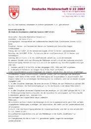 Ausschreibung DM U22 2006/2007