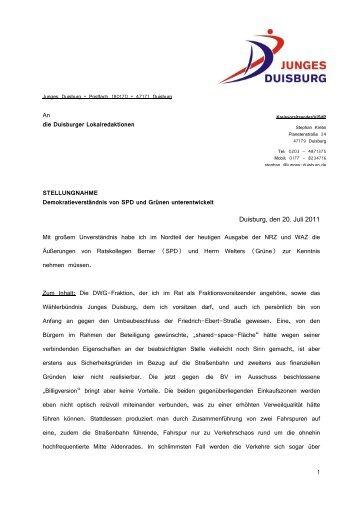 Demokratieverständnis von SPD und Grünen ... - Junges Duisburg