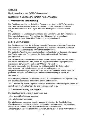 Satzung Bezirksverband der SPD-Ortsvereine in Duisburg ...