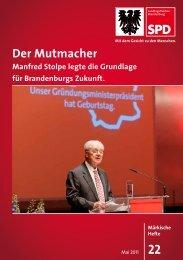 Der Mutmacher. Manfred Stolpe legte die Grundlage - SPD ...