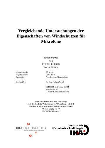 Vergleichende Untersuchungen der ... - Hauptmikrofon.de