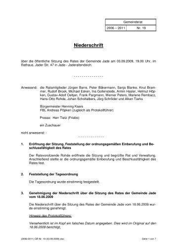 Sitzung Nr. 19 - 03.09.2009 - Gemeinde Jade
