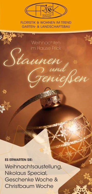 Weihnachtsaustellung, Nikolaus Special, Geschenke Woche ...