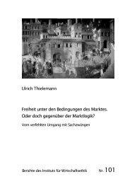Ulrich Thielemann Freiheit unter den Bedingungen des Marktes ...