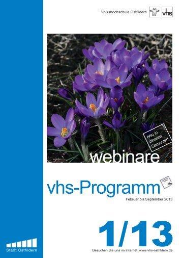 vhs-Programm webinare - VHS Ostfildern