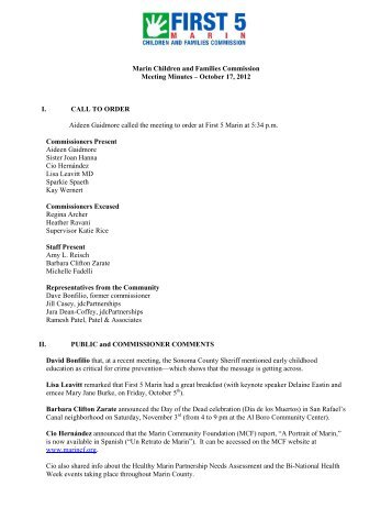 Commission Minutes October 17, 2012 - First 5 Marin