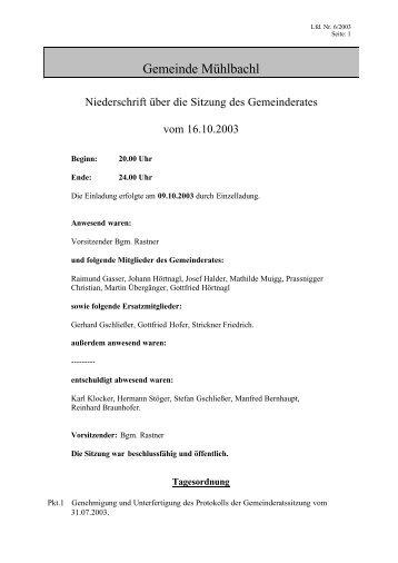 Beschlussfassung - Mühlbachl