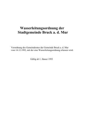 Wasserleitungsordnung der Stadtgemeinde Bruck a. d. Mur