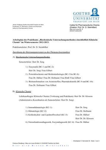 Arbeitsplan des Praktikums - Fachbereich Pharmazie der Universität ...