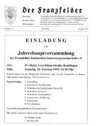Ausgabe 19 hier herunterladen - Die Franzfelder