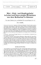 Blei-, Zink- und Kupfergehalte in Leber und Niere einiger Wirbeltiere ...