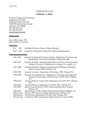 SORG full.cv_.pdf - WSU Vancouver Directory - Washington State ...