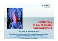 Einführung in die Thematik Rückenschmerz - PAINCOURSE