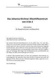 Das Johanna-Kirchner Altenhilfezentrum von A bis Z - AWO