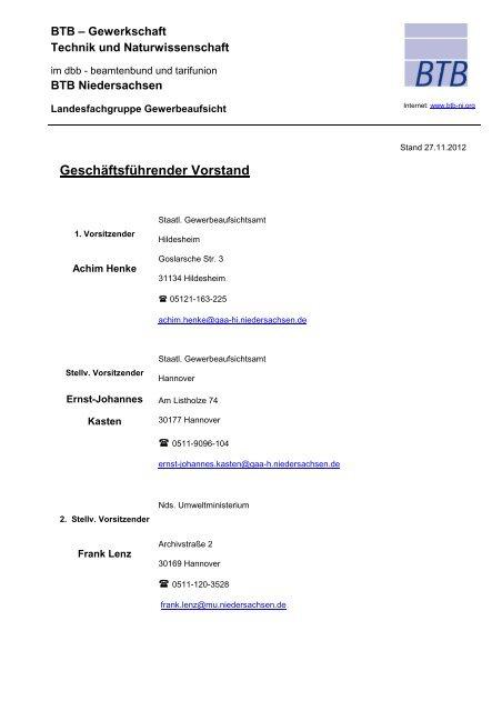 Vorstand - BTB Niedersachsen