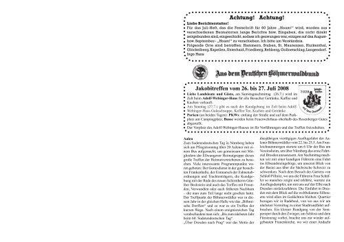 Achtung Deutscher Böhmerwaldbund Ev