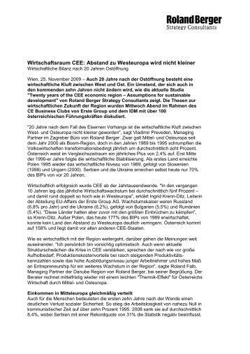 Wirtschaftsraum CEE: Abstand zu Westeuropa wird ... - Roland Berger
