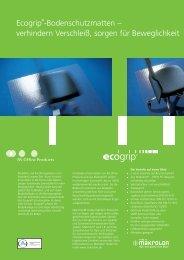 Ecogrip®-Bodenschutzmatten – verhindern Verschleiß, sorgen für ...