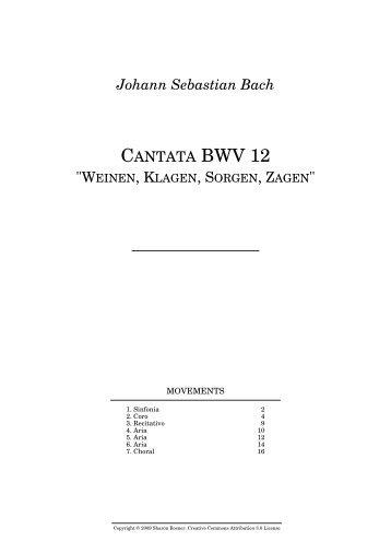 "Johann Sebastian Bach CANTATA BWV 12 ""WEINEN, KLAGEN ..."