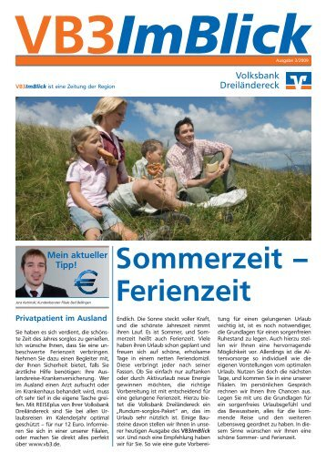 Titel: Sommerzeit - Ferienzeit (3/2009) - Volksbank Dreiländereck eG