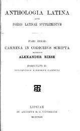 Anthologia latina sive poesis latinae ... - Centro Michels