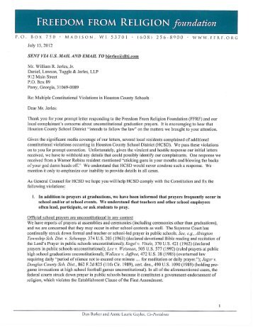 letter - Freedom From Religion Foundation