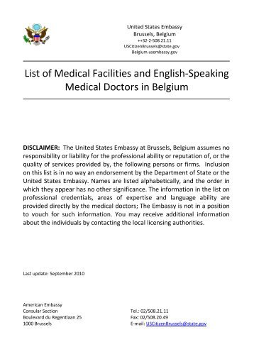 List of Medical Facilities and English-Speaking Medical Doctors in ...