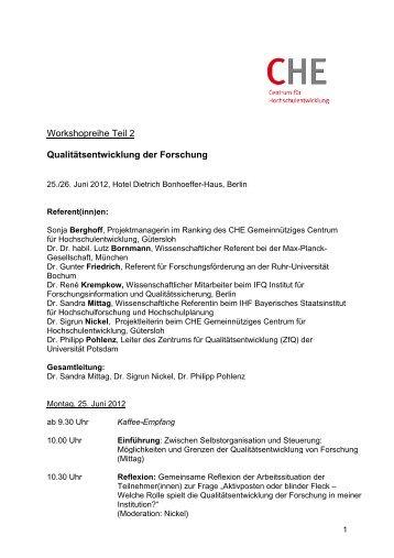 Workshopreihe Teil 2 Qualitätsentwicklung der ... - Hochschulkurs
