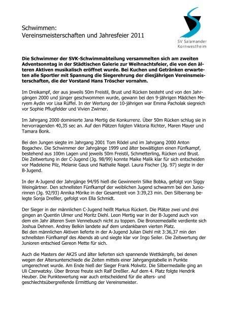 huge selection of 95429 c4aa0 Bericht Schwimmen - SV Salamander Kornwestheim -- Abteilung ...